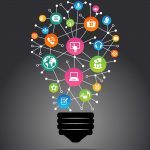 Modern infographic template. Creative light bulb with applicatio